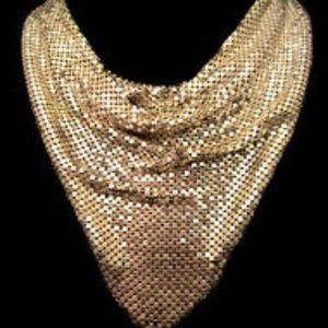 """Vtg 18x9"""" Whiting&Davis Gold Tone Mesh Bib Collar"""